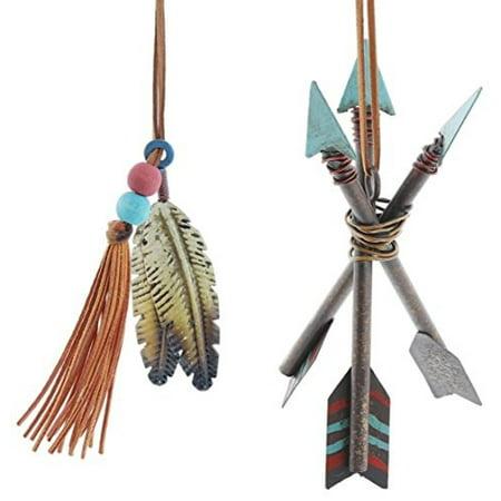 set of 2 assorted burton & burton southwestern style metal teepee arrow & feather ornaments
