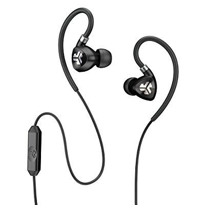 JLab Audio Fit 2.0 Sport IPX Earbuds with Mic and Memory Wire Earhooks - Black