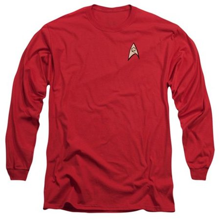 Trevco Star Trek-Engineering Uniform - Long Sleeve Adult 18-1 Tee - Red, Large - High Quality Star Trek Uniform