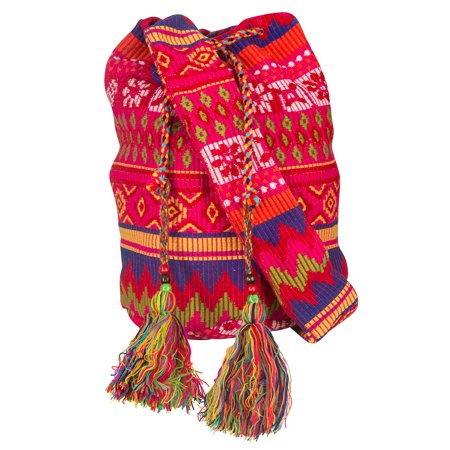 Messenger Sling - Tribe Azure Oversize Pink Hobo Shoulder Bag Crossbody Beach Shopping Market Casual Hippie Sling Messenger