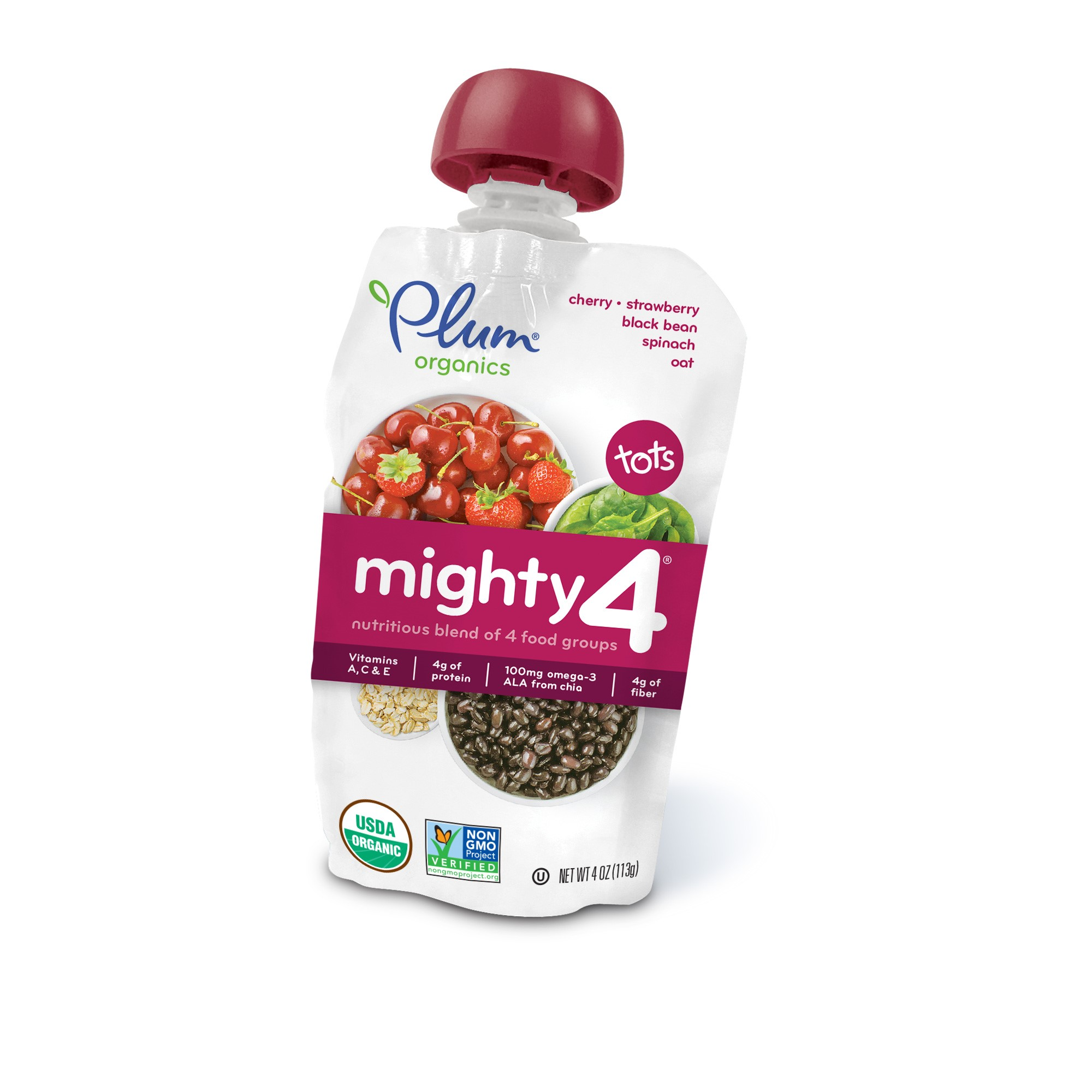 Plum Organics Mighty 4, Tots, Spinach, Cherry, Oats & Black Bean Strawberry, 4 Oz (6 Pack)