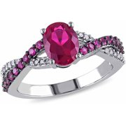 2-1/3 Carat T.G.W. Created Ruby and Diamond-Accent 10kt White Gold Cross Over Engagement Ring