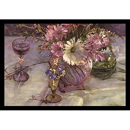 FRAMED Springtime Reflection by Deborah L. Chabrian 21x14 Art Print Poster Vintage Still Life White Purple Flowers in Antique Glass Vase and Wine Glass Antique Purple Glass