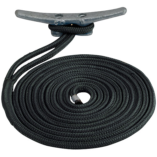 "Sea Dog Dock Line, Double Braided Nylon, 1 2"" x 20', Black by Sea Dog"