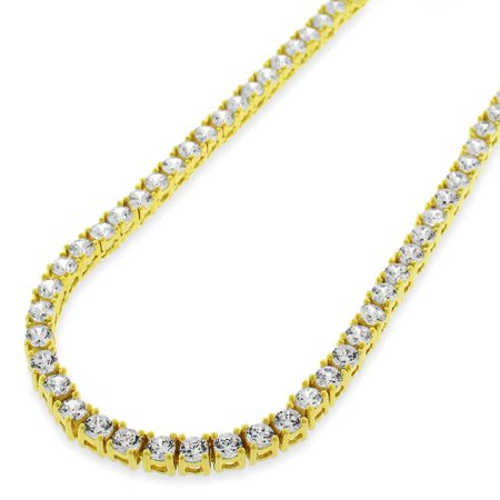 Sterling Silver 3.5mm Brilliant-Cut Clear Round CZ Solid 925 Yellow Gold Plated Tennis Necklace 20