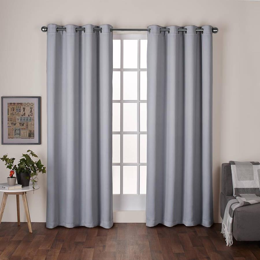 Exclusive Home Heath Textured Linen Woven Room Darkening Grommet Top Window Curtain