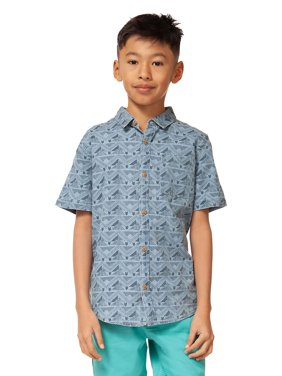 Boy's Geometric-Print Cotton Collared Shirt