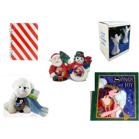 Christmas Fun Gift Bundle [5 Piece] - Michaels Red & White Stripe Journal - Heavenly Angels Ceramic Bells 4