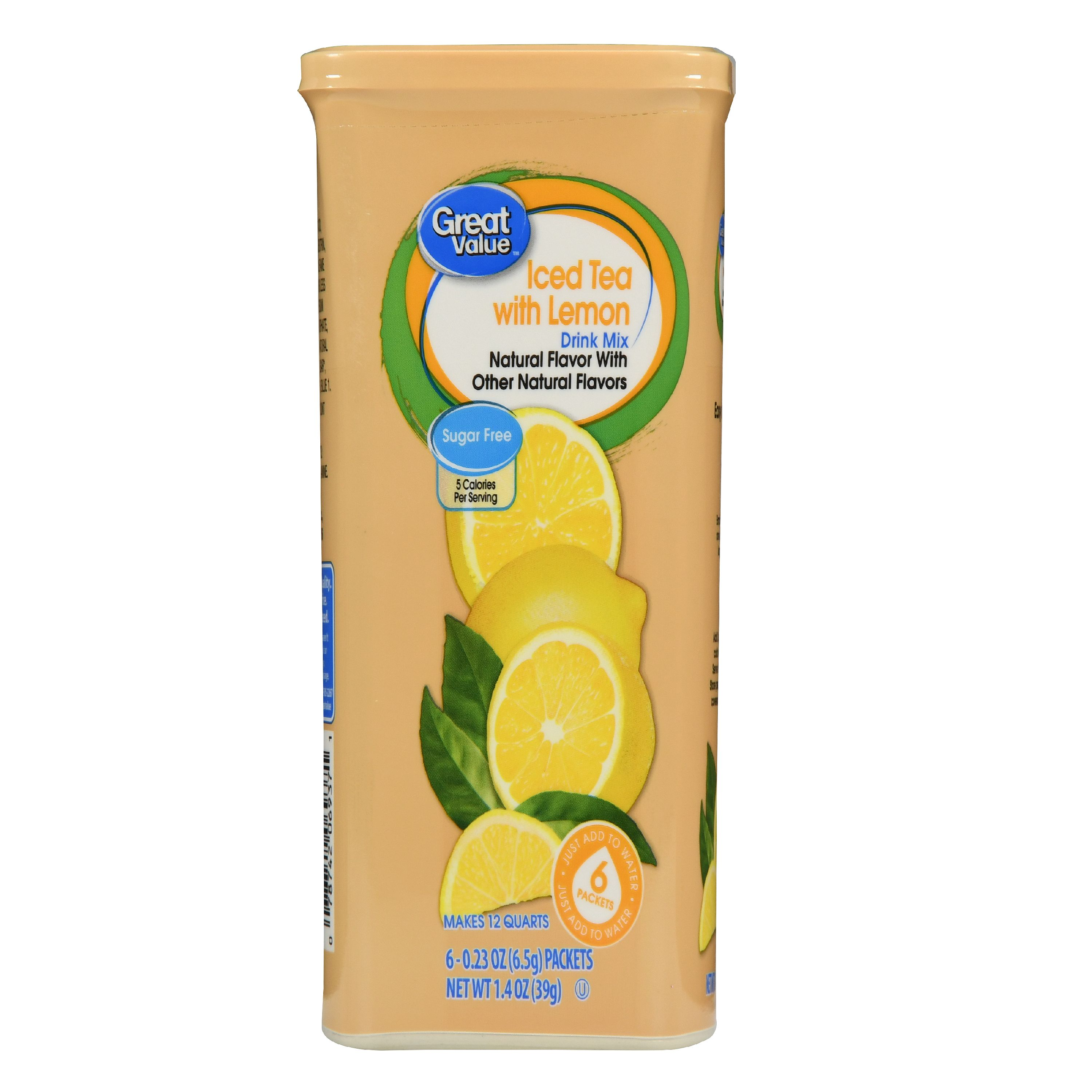 Great Value Drink Mix, Iced Tea with Lemon, Sugar-Free, 1.4 oz, 6 Count