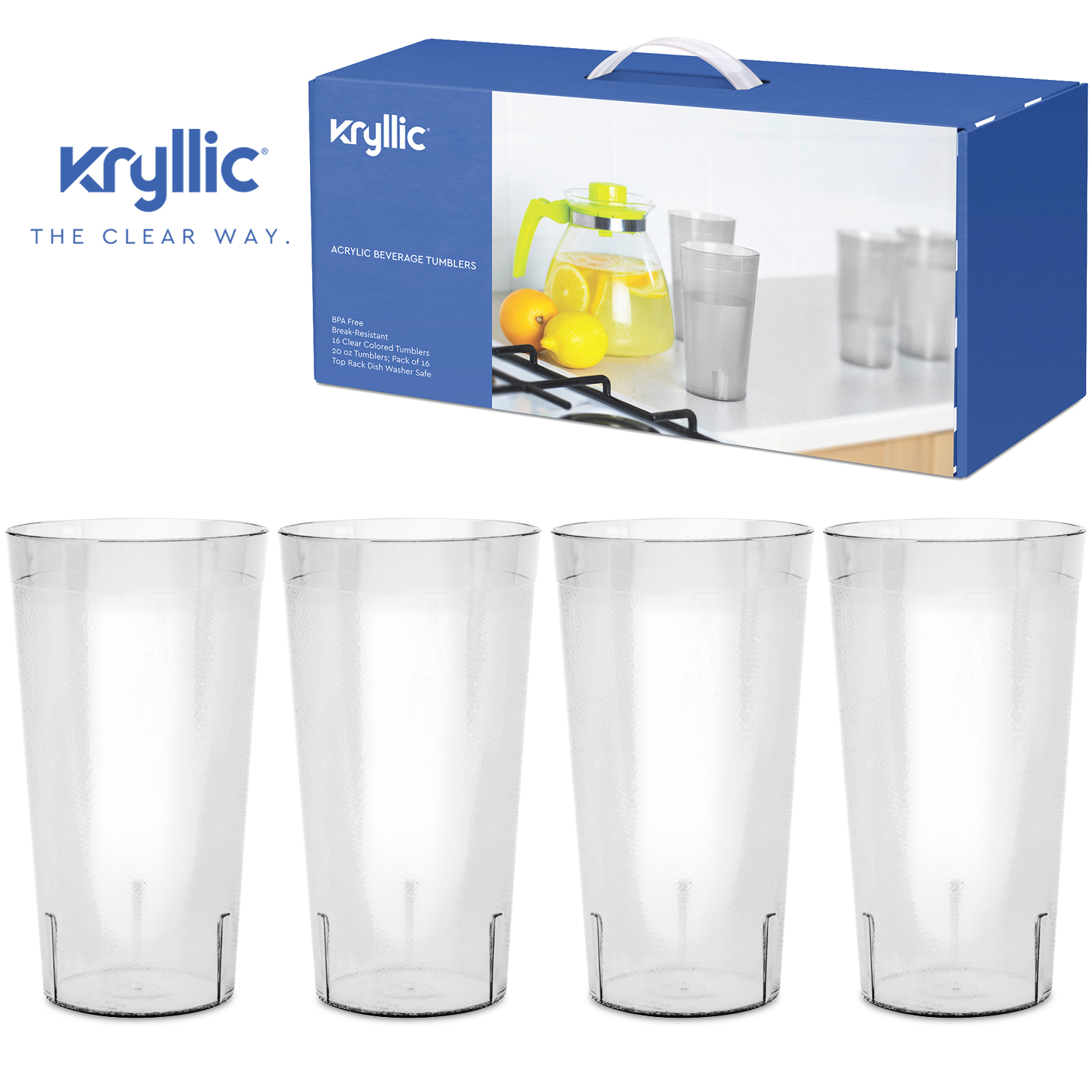 5d8c33d89d19 Reusable Plastic Cup Drinkware Tumblers - 16 Clear break resistant 20 oz  dishwasher safe drinking stacking water glasses cups! great decorations  restaurant ...