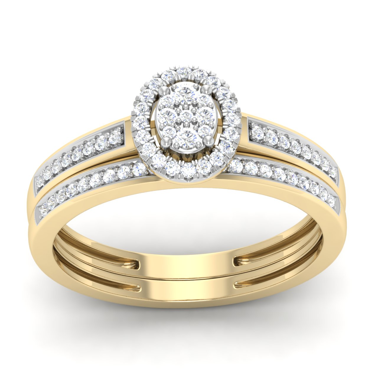 Trillion Designs 1 4Ct Round Cut Natural Diamond Double Halo Bridal Ring Set in 10K Yellow Gold by Arina Jewelry