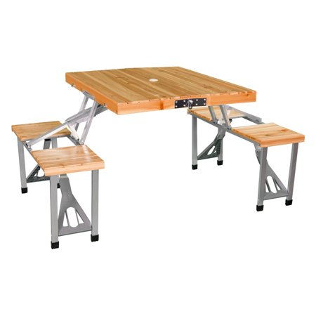 Leisure Season Portable Folding Picnic Table, Medium Brown ()