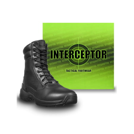 Interceptor Men's Kentin Zippered Tactical Work Boots, Black