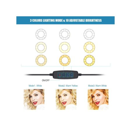 Selfie Ring Light Stand with Microphone Holder_ for Live Stream/Makeup/YouTube Video,[3-Light Mode] [10-Level Brightness] - image 2 of 3
