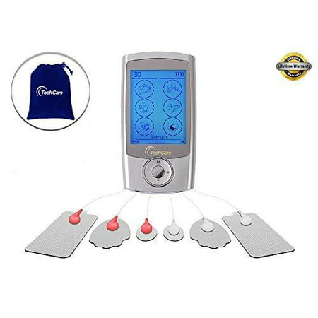 (TechCare Pro TENS Unit 24 Modes Best Portable Massager Back Neck Stress Sciatic Pain, Handheld Full Body Palm Plus Digital Pulse Impulse Professional Micro Massager (Silver))