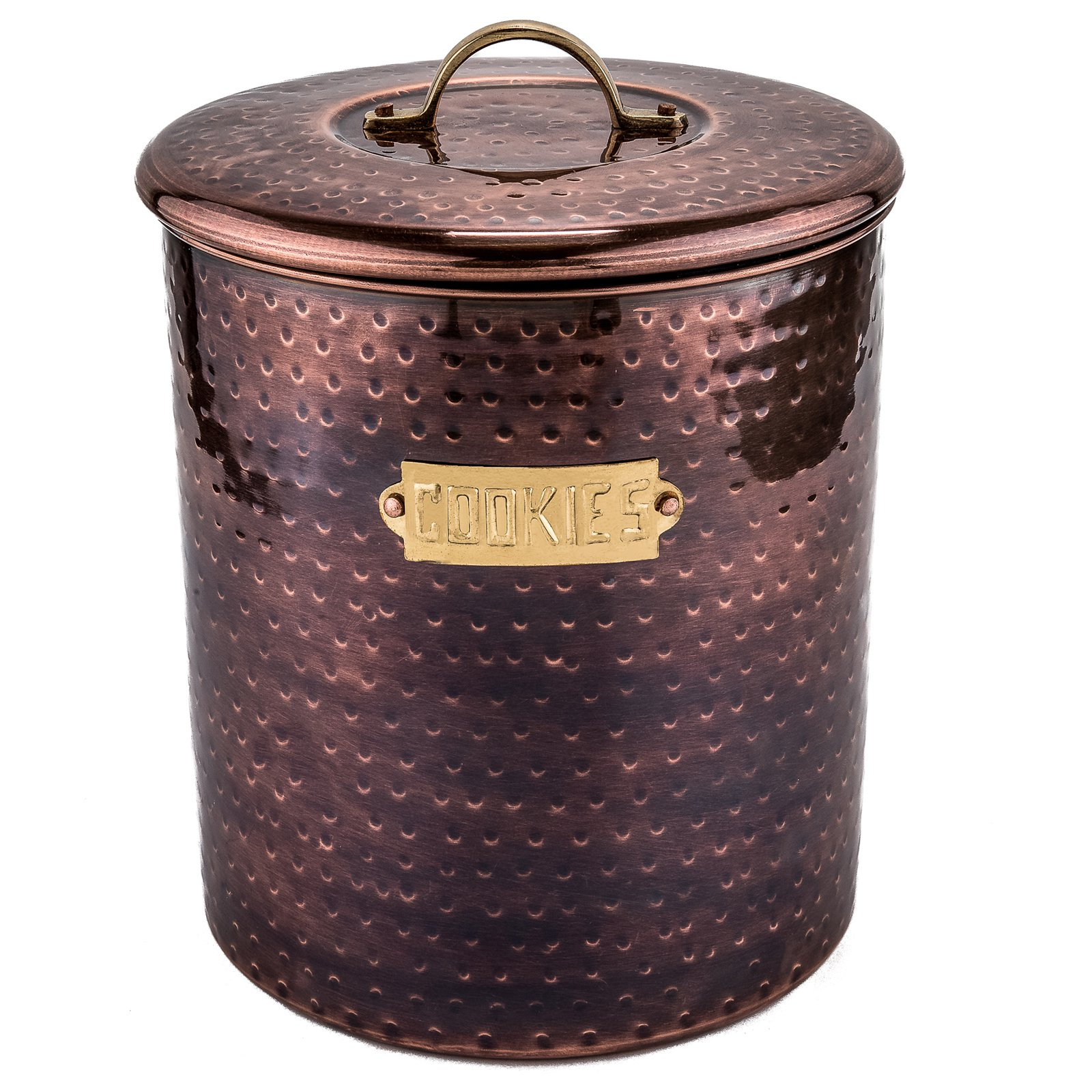 Click here to buy Old Dutch International Hammered Metal Cookie Jar by Old Dutch.
