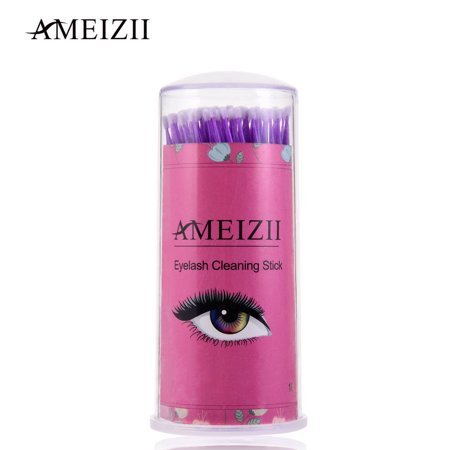 AMEIZII 100Pcs Eyelash Grafting Mascara Gel Paste Cleaning Stick Cleaning Cotton Swab Cotton Bud Disposable Plastic Tube Cotton Makeup Remover Ear Cleaner Swabs ()