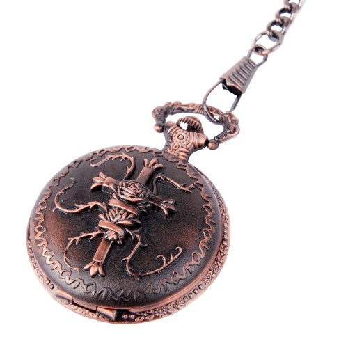 Pocket Watch Bronze Cross Motif Arabic Numerals with Chain Full Hunter Neo Vintage Steampunk Design PW-21 by ShoppeWatch
