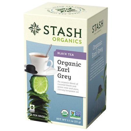 Stash Tea Organic Earl Grey Black and Green Tea, 18 Ct, 1.1 Oz