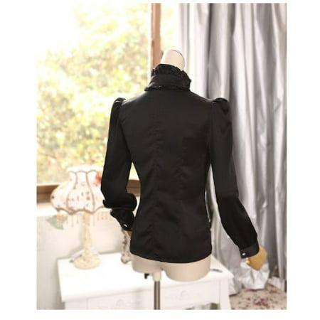 Luxury Womens Top - Noble Luxury Victorian Tops Women Shirt Ruffle Flounce Ladies Blouse (M, Black)