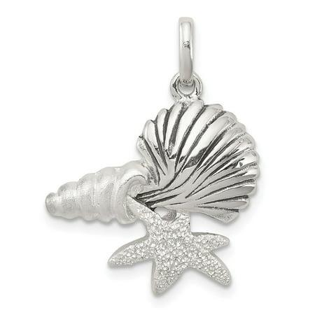 925 Sterling Silver Polished Antiqued Laser Cut Satin Seashells Pendant for