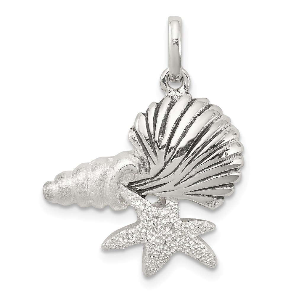 Beautiful Sterling Silver Polished Tropical Fish Pendant