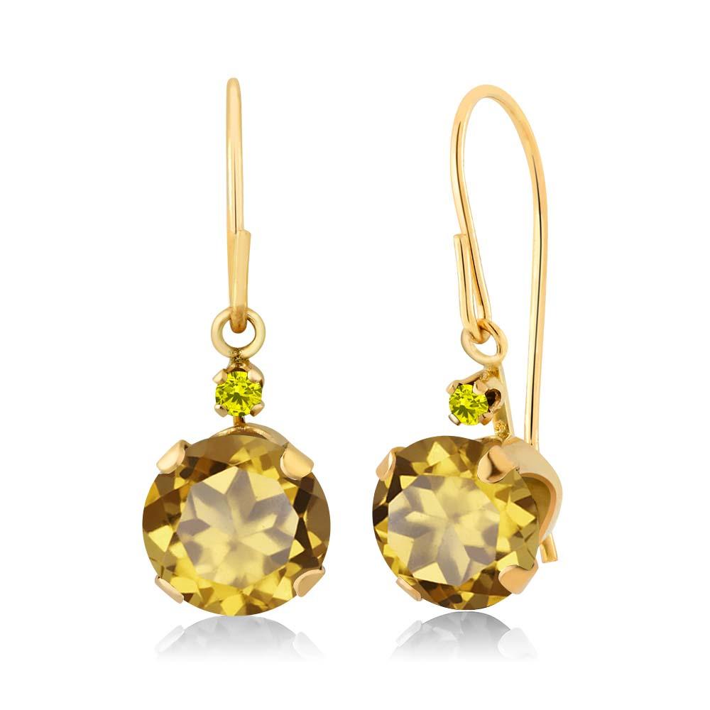 1.63 Ct Round Champagne Quartz Canary Diamond 14K Yellow Gold Earrings