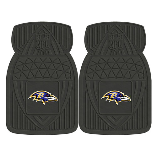 FanMats 2pc Heavy-Duty Vinyl Car Mat Set, Baltimore Ravens - SPORTS LICENSING SOLUTIONS