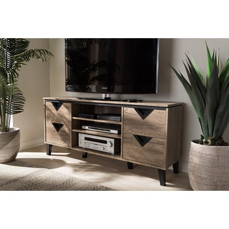 Contemporary Modern Tv Stand - Baxton Studio Beacon Modern and Contemporary Light Brown Wood 55-Inch TV Stand