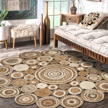 Bleached Jute - LR Home Natural Jute Braided Coils Bleach Gray Round Indoor Area Rug ( 8' Round )
