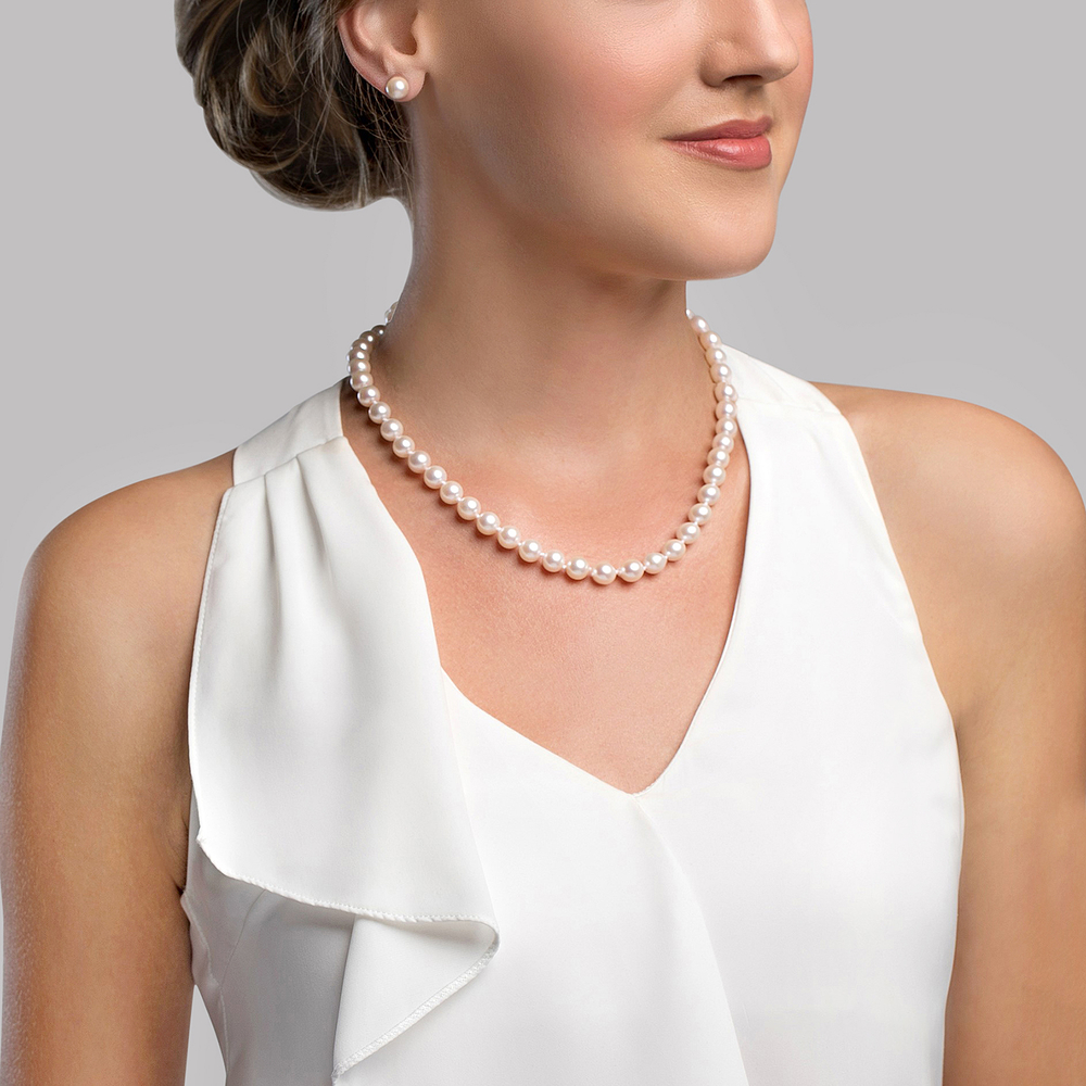THE PEARL SOURCE 8-9mm AAA Quality Round White Freshwater Cultured Pearl Necklace for Women in 16 Choker Length