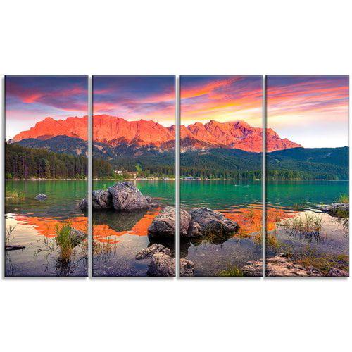 Design Art Colorful Eibsee Lake Sunset 4 Piece Photographic Print On Wrapped Canvas Set Walmart Com Walmart Com
