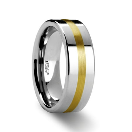 Harrisburg Gold Inlaid Flat Tungsten Ring
