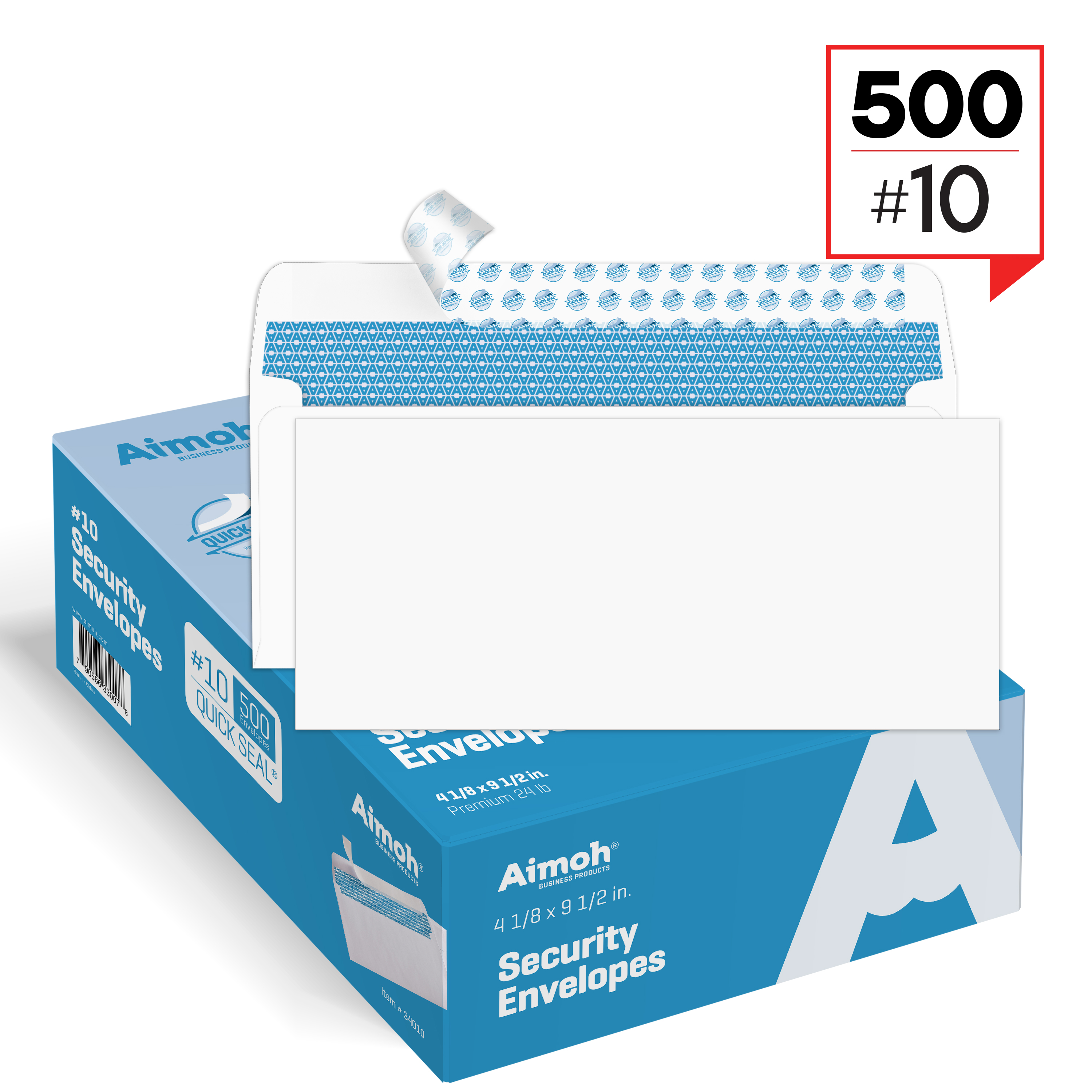#10 Security Tinted Self�Seal Windowless Envelopes � 4�1 8 x 9�1 2 500 Count (34010) by Aimoh