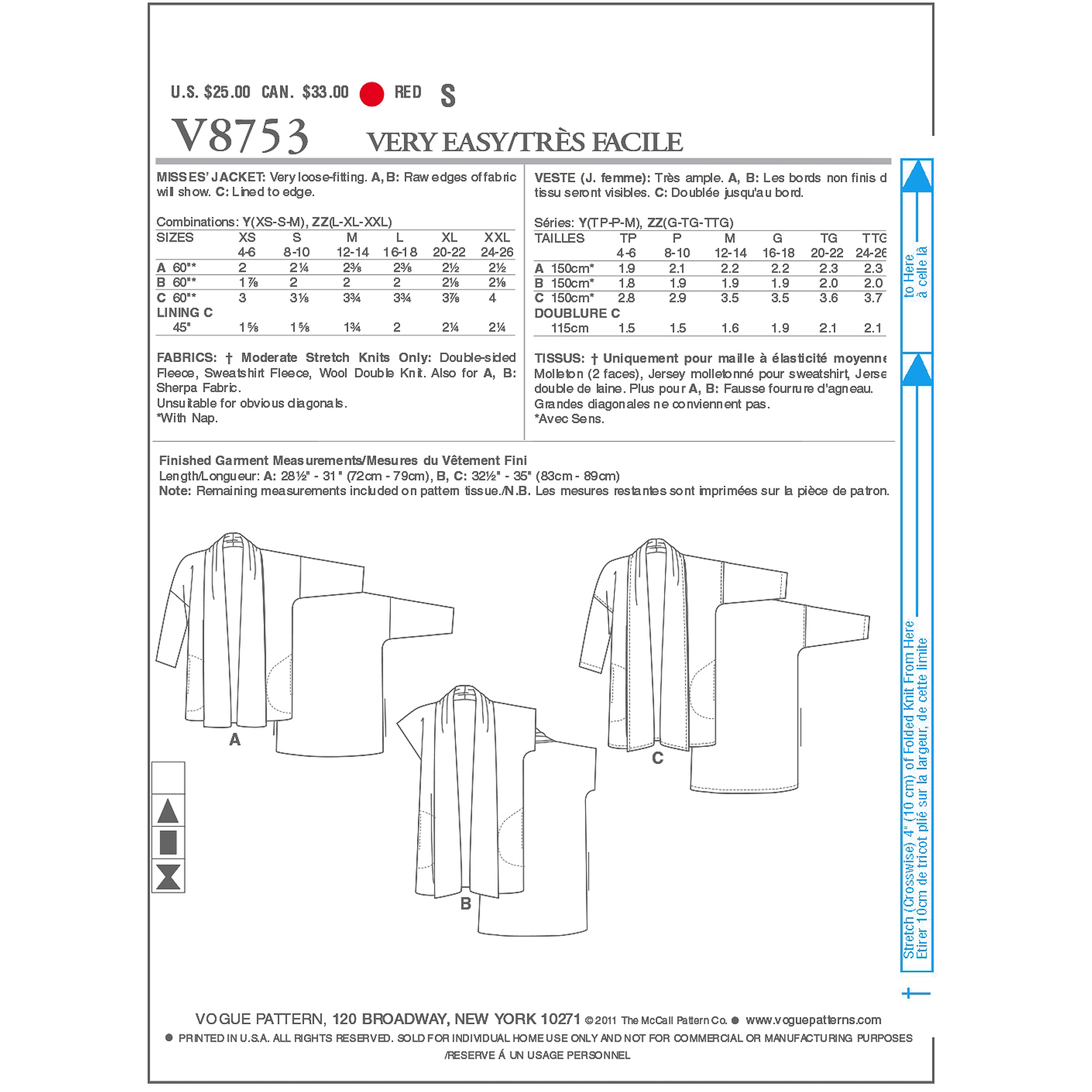 Vogue Pattern Misses' Jacket, ZZ (L, XL, XXL)