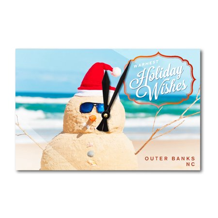 Outer Banks, North Carolina - Warmest Holiday Wishes - Snowman on the Beach - Lantern Press Photography (Acrylic Wall Clock) - Snowman On The Beach