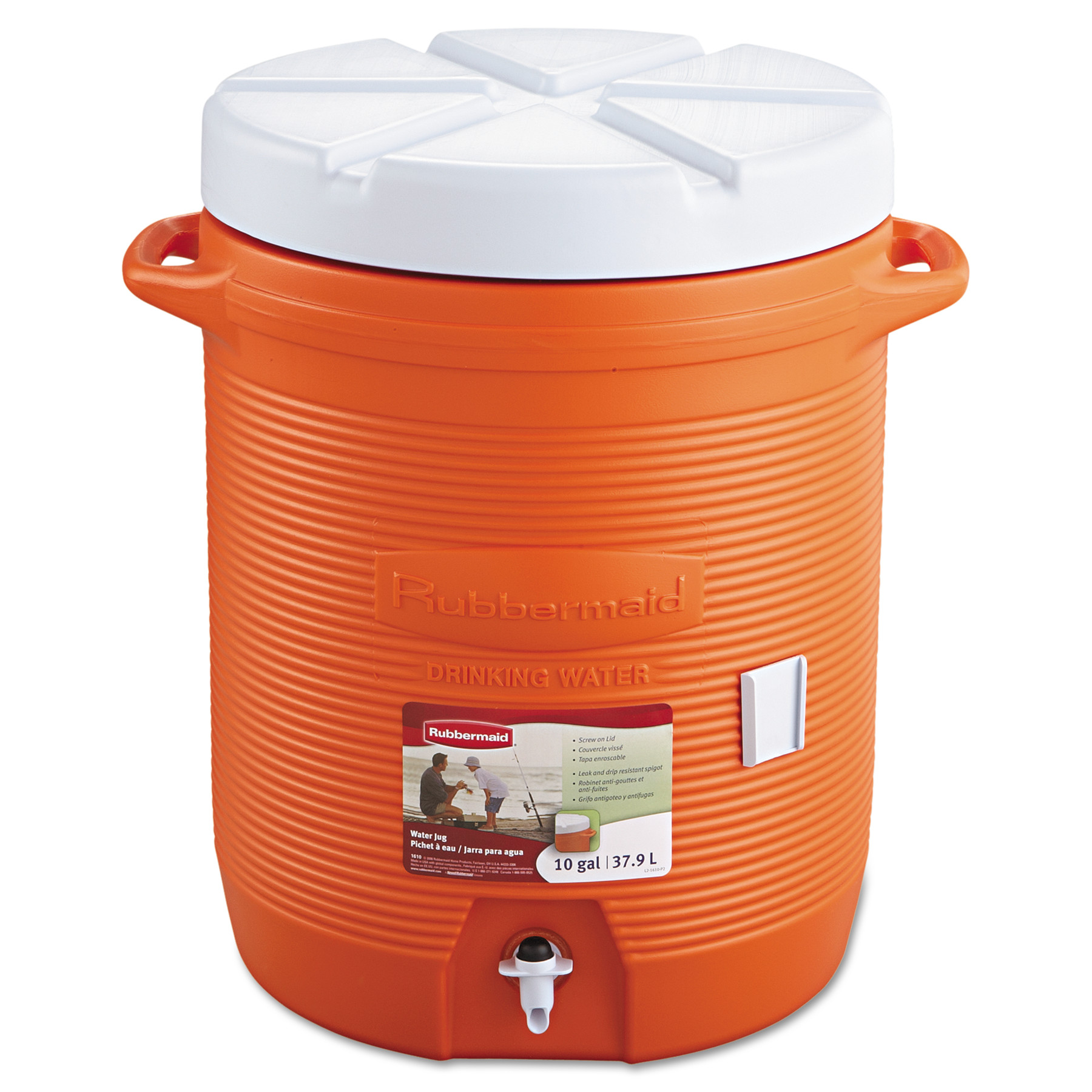"Rubbermaid Commercial Insulated Beverage Container, 16"" dia. x 20 1/2h, Orange"