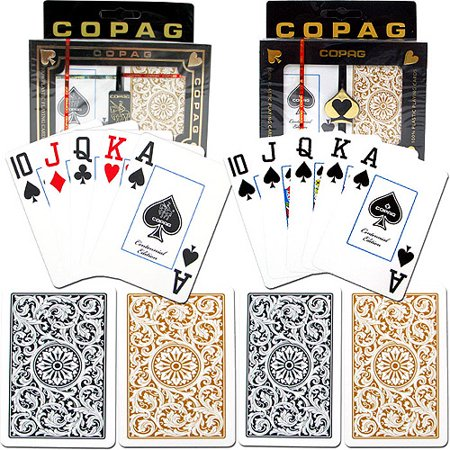 Trademark Poker 2pk Copag 1546 Design Jumbo index Card Deck, Gold/Black