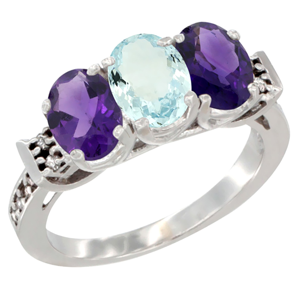 10K White Gold Natural Aquamarine & Amethyst Sides Ring 3-Stone Oval 7x5 mm Diamond Accent, sizes 5 10 by WorldJewels