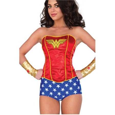 Womens Classic Wonder Woman Sequin Corset Costume Accessory Medium 8-10](Superhero Yellow And Blue Costume)