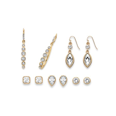 Round, Pear, Marquise and Princess-Cut Faceted White Crystal Gold Tone 5-Pair Stud and Drop Earrings Set Cut Faceted Pear