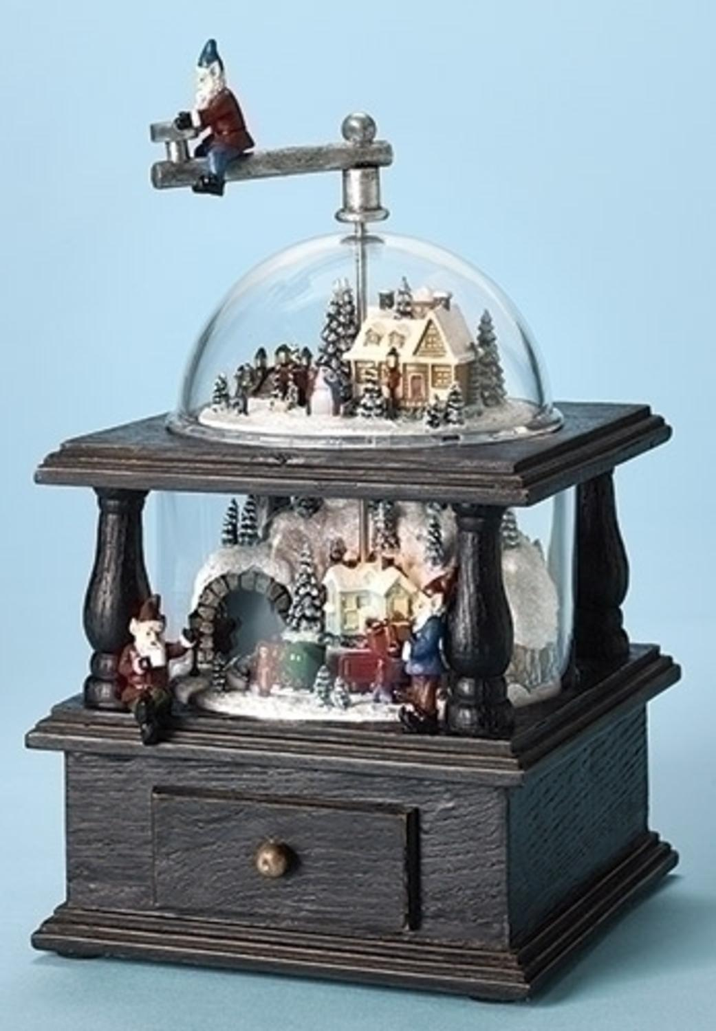 "10.25"" Amusements Lighted Musical Old Fashion Coffee Grinder Santa's Workshop Christmas Decoration by Roman"