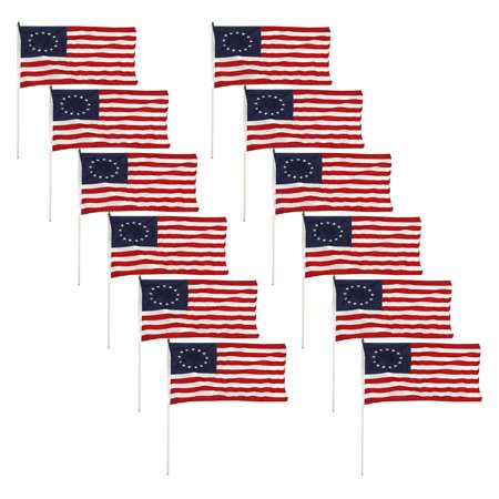 12 Pack   Betsy Ross Stick Flag 12X18 Inch