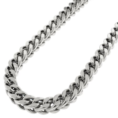 """14k White Gold 6.5mm Hollow Franco Square Box Link Necklace Chain 34"""" - 40"""""""