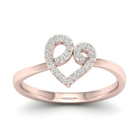 1/10Ct TDW Diamond 10k Rose Gold Open Heart Fashion Ring