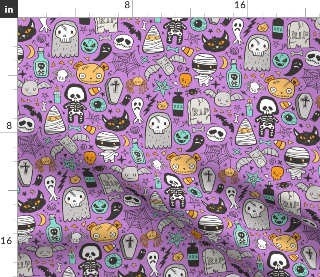 *Choose design* Halloween ghost skeleton cotton quilting fabric *size