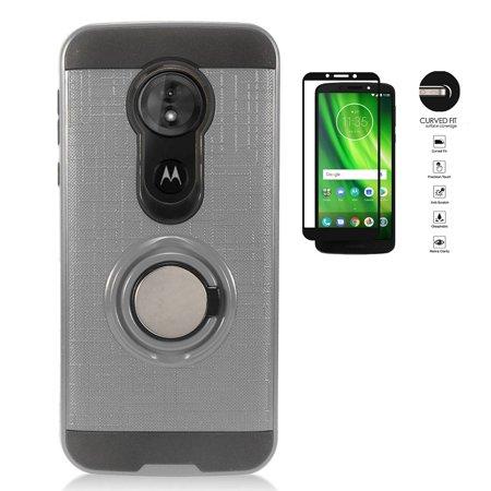timeless design 489d7 bcfd3 Tracfone Moto e5 (XT1920DL) Case, Motorola E5 Case, Metal Texture Design  Ring Stand Protective Case Cover (Silver)