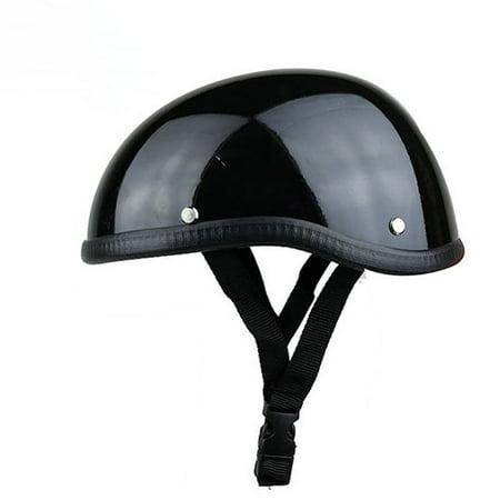 Unisex Professional Motorcycle Half Helmet Hat Cap for Harley Chopper Bobber Bright black