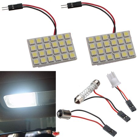 2pcs 24 LED 5050 led car light SMD T10 BA9S Adapter White Interior Festoon Dome Panel Light Lamp Bulb