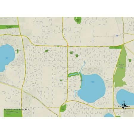 Political Map of Round Lake Beach, IL Print Wall Art